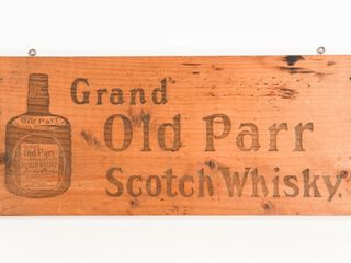 GRAND OlD PARR SCOTCH WHISKEY WOODEN BOX END