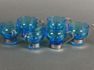 SET OF 6 VINTAGE BlUE GlASS PUNCH CUPS