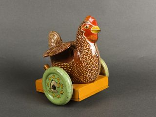 VINTAGE ROOSTER CHIlD S TIN PUll TOY