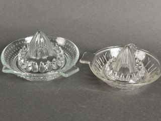 GROUPING OF 2 VINTAGE PATTERN GlASS JUICE REAMERS