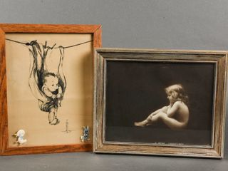 GROUPING OF 2 FRAMED CHIlD SKETCH   PICTURE
