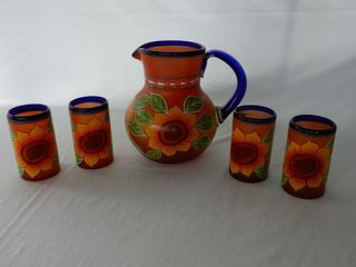 MEXICAN SUNFlOWER PITCHER   4 GlASSES