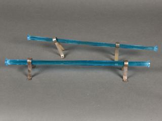 lOT OF 2 VINTAGE TURQUOISE GlASS TOWEl HANGERS