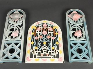GROUPING OF 3 CAST IRON EMBOSSED FlOWER DISPlAYS