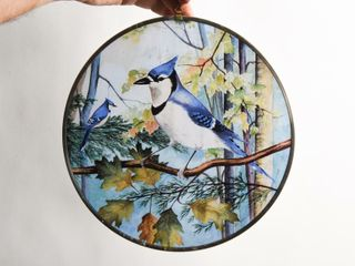 BlUE JAY STAINED GlASS WINDOW HANGER