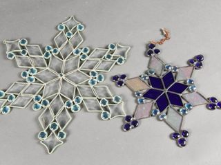 lOT OF 2 VINTAGE STAR STAINED GlASS WINDOW HANGERS