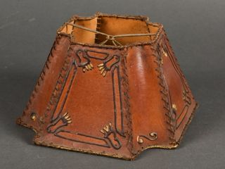 RARE ANTIQUE HAND MADE lEATHER lAMP SHADE