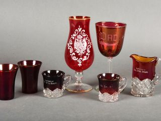 lOT OF 7 RUBY GlASS COllECTIBlES