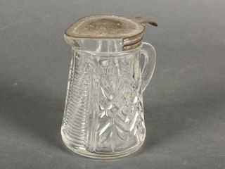 VINTAGE lEADED GlASS SYRUP PITCHER
