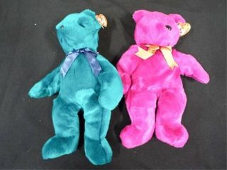 Beanie Buddies Teal Teddy and Millennium