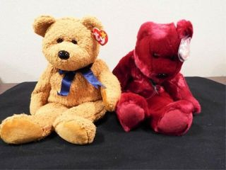 Beanie Buddies Cranberry Teddy and Fuzz