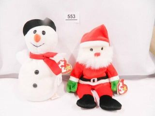 Snowball and Santa Beanie Babies