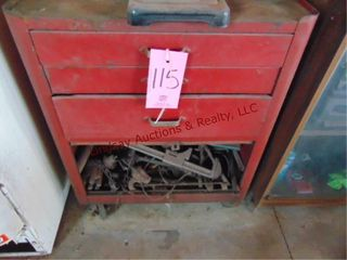 Tool box w  misc tools  drill bits  files  snips