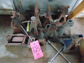 Floor jack   3 sets of jack stands  1 log wrench