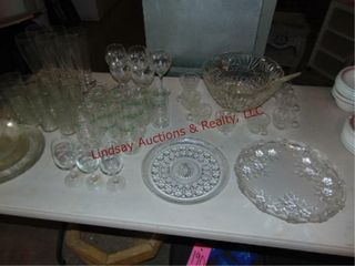 1 lot of clear glass  punch bowl  stem ware