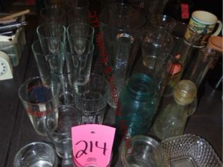 1 lot of drinking glasses  vases   others