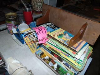 lot w  books  little shelf  cups   other misc
