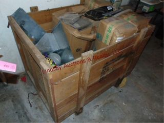 Wood crate 44  x 34  x 32  full of misc