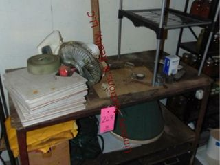 2 tier work table 46  x 25  x 39  WITH CONTENTS