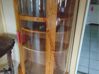 Wood display cabinet w  glass door 33  x 16  x 62
