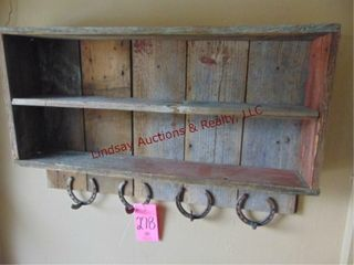 Wood wall shelf w  horseshoe coat hooks 36 x7 x24