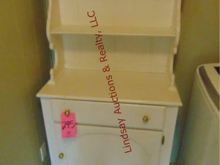 White wood hutch w  1 door   1 drawer