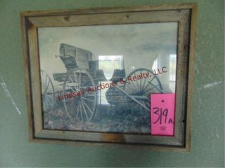 Wood framed picture of wagon 23 5  x 19 5