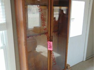 Wood 4 door gun cabinet  2 glass doors
