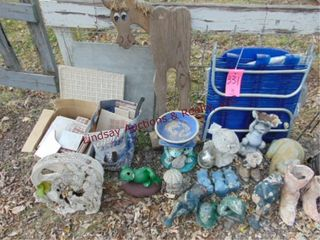 Group of misc yard art   other  frogs  western