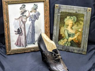 Antique Shoe on Mold and  2  Vintage Womens Pictures