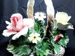 Vintage large Italy Capodimonte Flower Basket Centerpiece 12  x 11