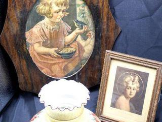 Vintage Quoizel Hurricane lamp Shade and 2 Vintage Portraits