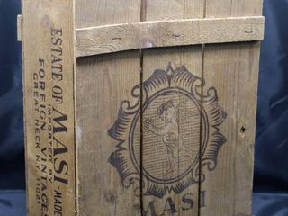 Rare Vintage MASI Wooden Wine Box Crate with Rope Handle