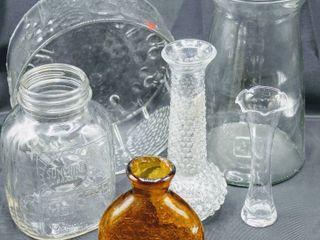 Vintage Glass lot including Handblown Amber Crackle Glass Vase  and Sunshine Coffee Jar