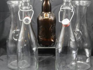 Vintage Bottle lot Grolsch  and P A    Co  bot working tops plus  2  Carafes