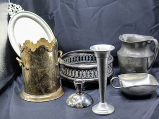 Mixed Pewter and Silver Plated lot  Royal Holland Pewter Daalderop  Old English Pewter  Indian Brass Etched Pot and more