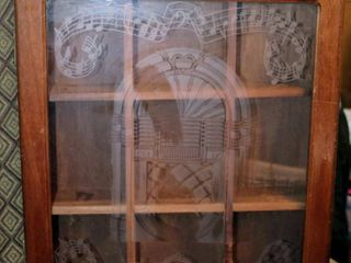 Wooden Etched Glass  musical  Wall Display with 9 Boxes and Hinged Front Wall Curio Cabinet
