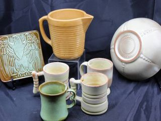 Vintage trivet  cups and bowl made by the Frankoma Pottery of Oklahoma