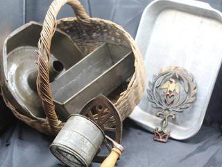Vintage Antique Basket of Kitchen Finds  Erickson Sifter  Cast Iron Eagle Trivet  266  Antique Cast Iron Sad Iron Trivet  Pans and more