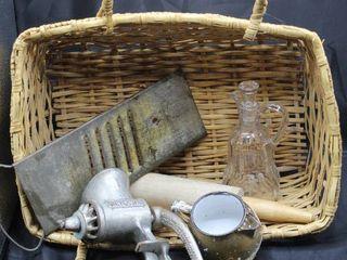 Vintage Kitchen including Universal Grinder  Bluffton Slaw Cutter  Enamelware and Syrup Glass