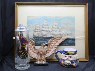 VINTAGE 14 1 2  X 11 3 4  WOOl ClIPPER SHIP PARRAMATTA FRAMED PRINT  Vintage Tall Glass Beer Stein  Ceramic Eagle Plaque  and Novelty Mug