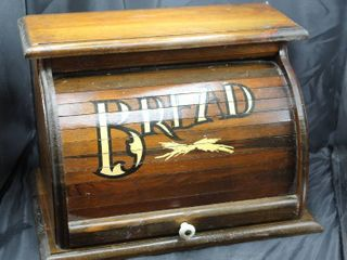 Vintage Wooden Roll Top Bread Box