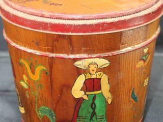 Vintage Wood Firkin Cannister Barrel Bucket Folk Art