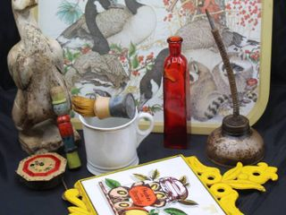 Assorted lot including Vintage Winter Geese Tray  Hand Carved Wooden Duck and Wooden Toy  Shaving Brush and Cup  Vintage Napcoware Tile   Cast Iron Trivet Peaches in Brandy  August C Keebler Pendulette and more