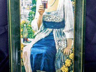 Vintage 1970 s Coca Cola Tin Rectangle Server Tray WW1 1916 Girl