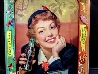 Vintage 1950 s Coca Cola Tray 10 5  x 13  Drink Coca Cola  Thirst knows no season