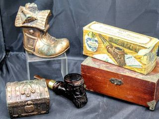 Vintage Collector Finds lot  Avon Cologne Pipe in Box  Vintage Metal Piggy Banks  and Vintage Jewelry Box
