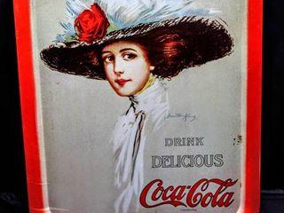 Vintage Drink Delicious Coca Cola 1971 Girl in Big Fedora Serving Tray Hamilton King