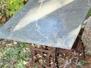 Antique Sewing Machine Base and Stone Top Table
