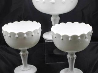 3  White Milk Glass Stemmed Dishes 8  Tall